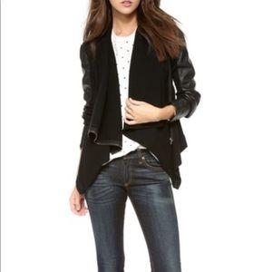 Blank NYC draped mixed materials leather jacket